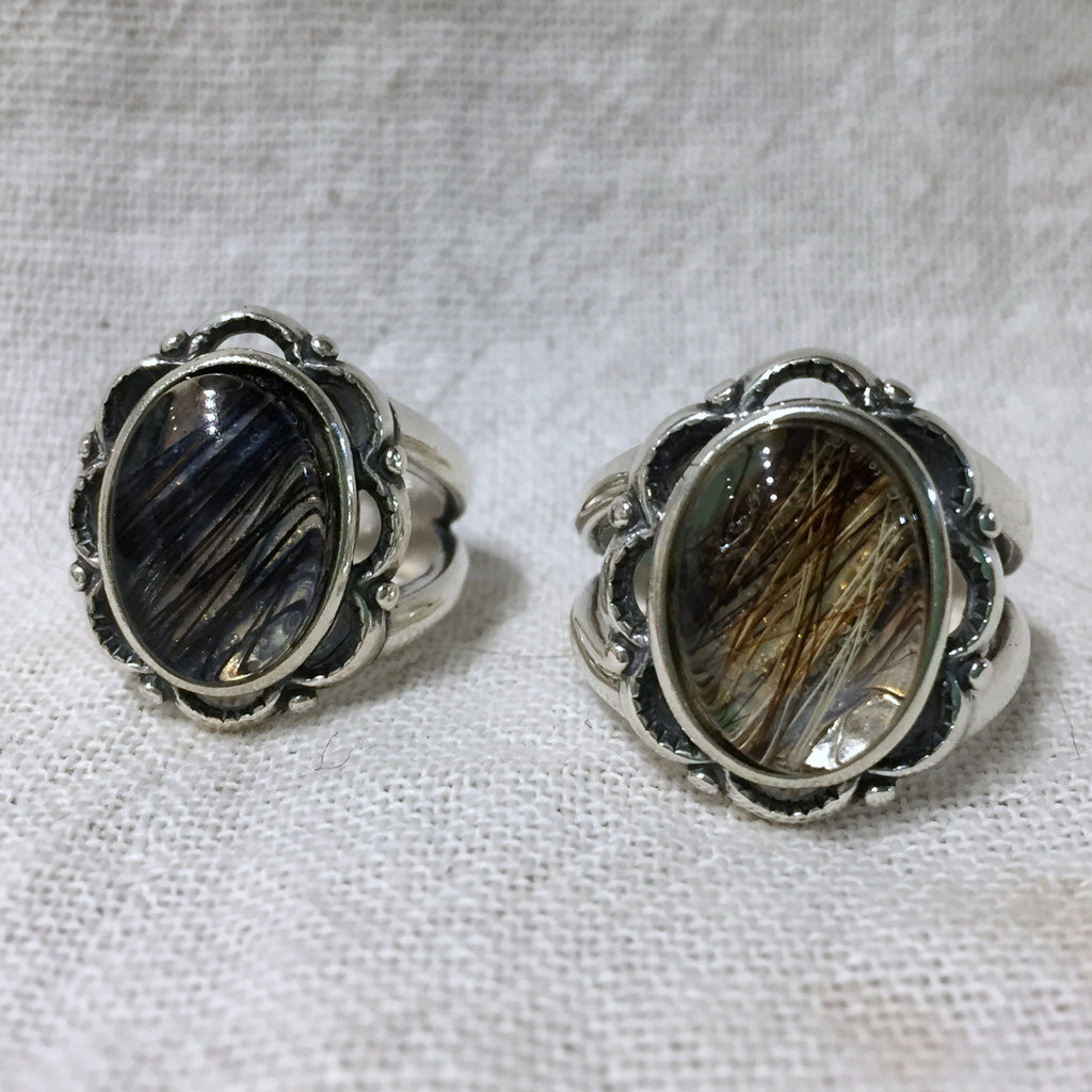 Sterling Silver Ring with Horse Hair Inlaid Under Glass