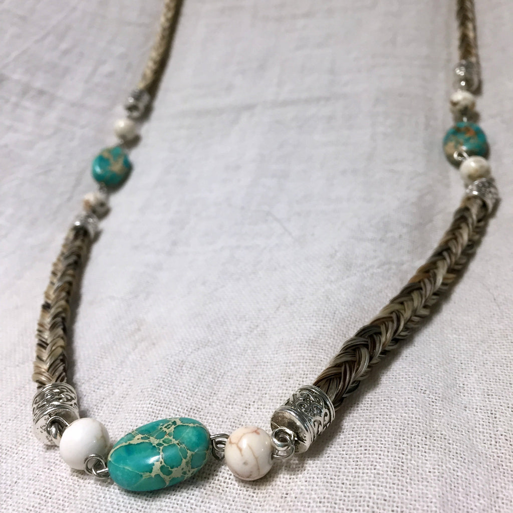 Horsehair Necklace with Turquoise & Cream Beads