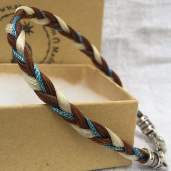 Horse Hair Bracelet with Flat 3-Strand Braid and Colored Accent Thread