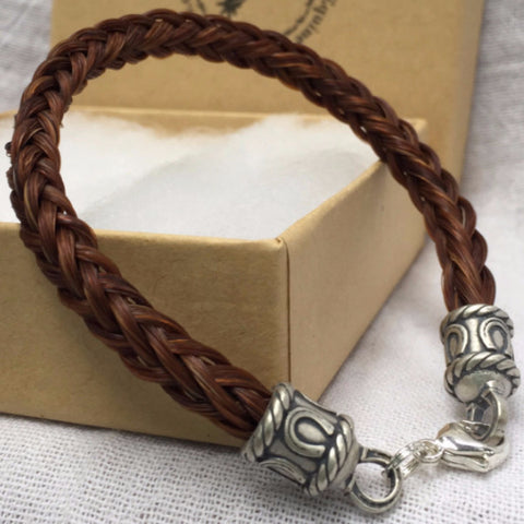 Horse Hair Bracelet with Fancy Horse Shoe End Caps