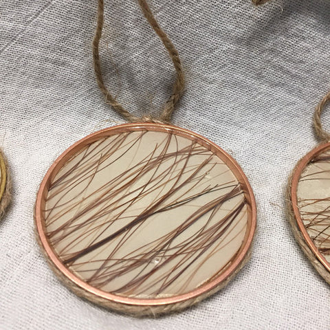 Christmas Ornament with Horsehair Under Resin