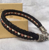 Horse Hair Bracelet with Two Braids & Czech Glass Beads
