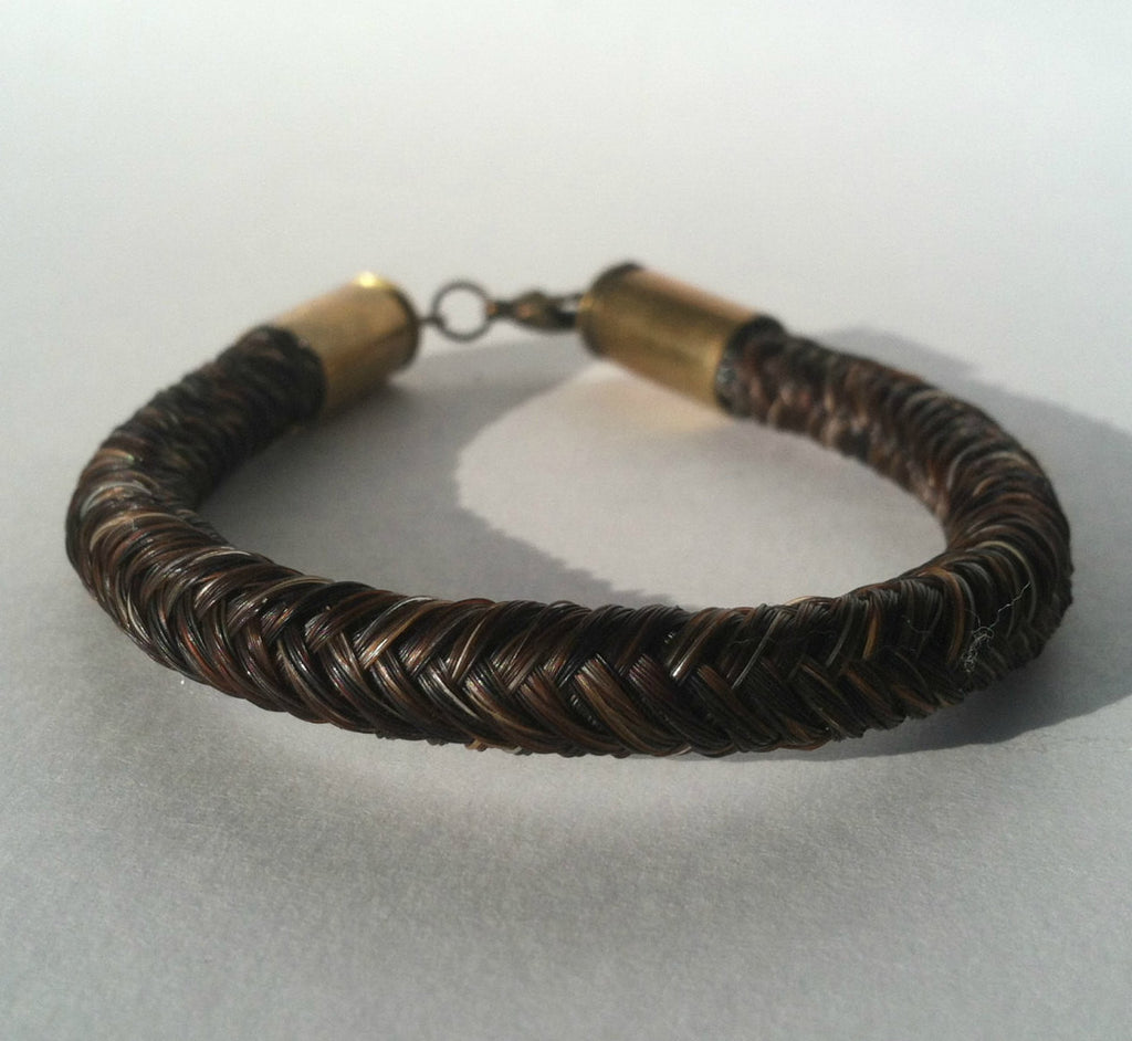 Horse Hair Bracelet with Bullet Shell Casing End Caps