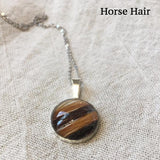 Sterling Silver & Horse Hair Glass Domed Pendant