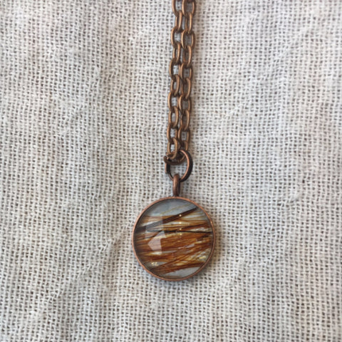 Copper Necklace with Horsehair Set Under Glass