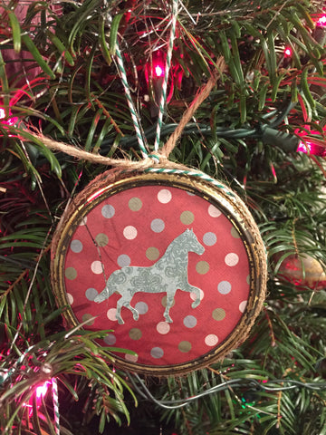 Custom Mason Jar Ring Christmas Ornament - Horse Themed