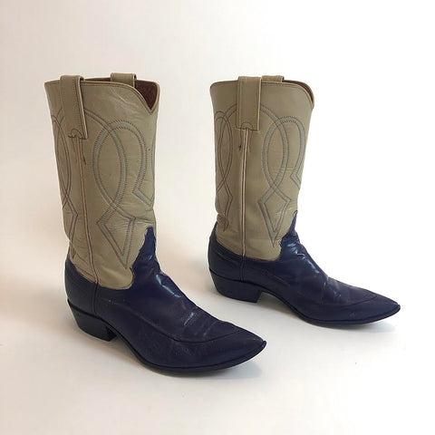 Vtg. Cream & Dark Blue Boots women's 6.5