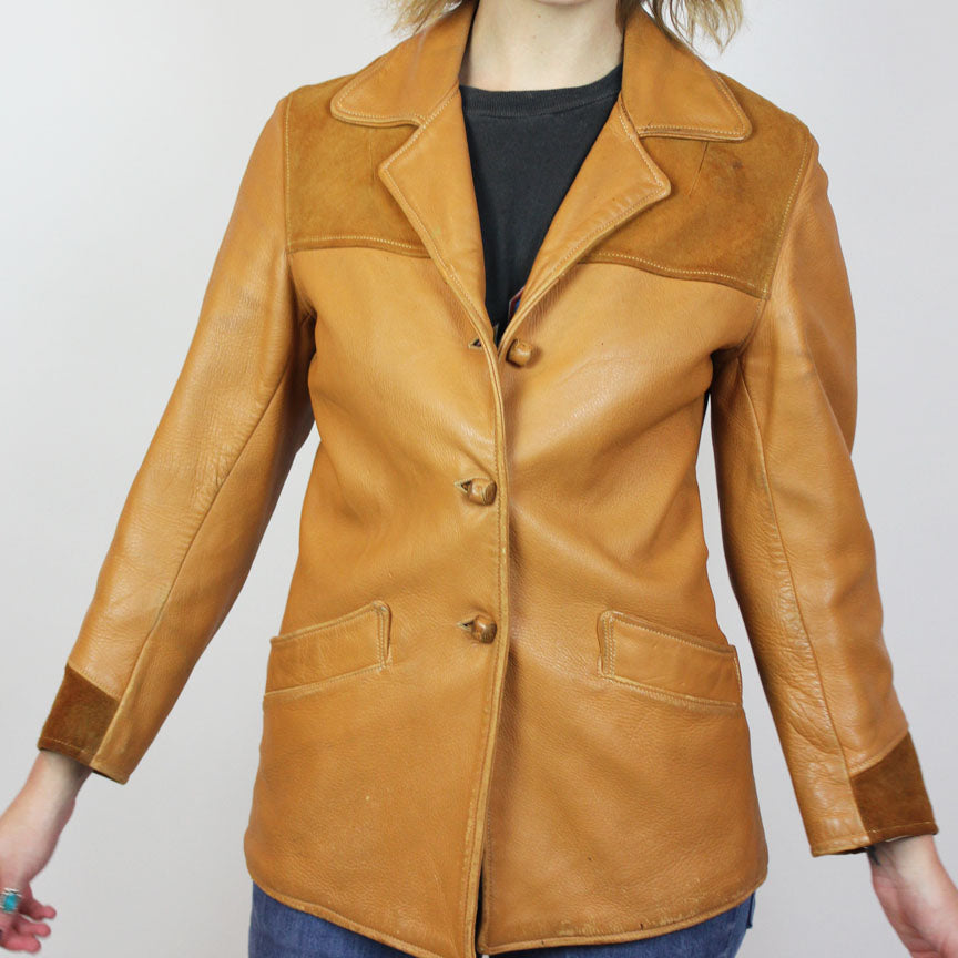 1970s Tan Leather and Suede Jacket