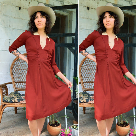 1930s Ruched Crimson Dress (M)