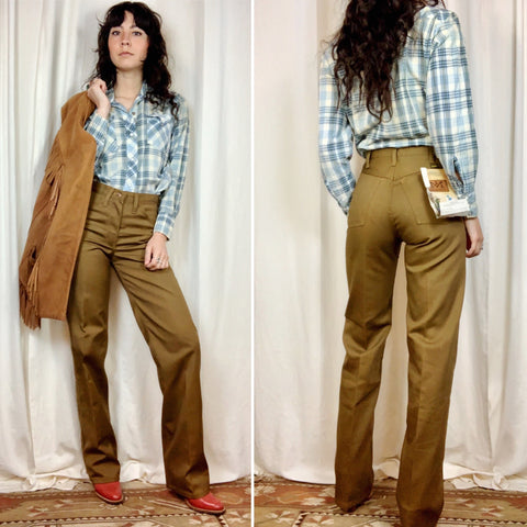 1970s Brown Maverick Deadstock Pants with Tags 26x32