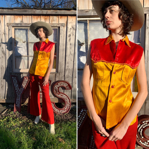 1940s Red & Yellow Satin Sleeveless Button Down Shirt (S)