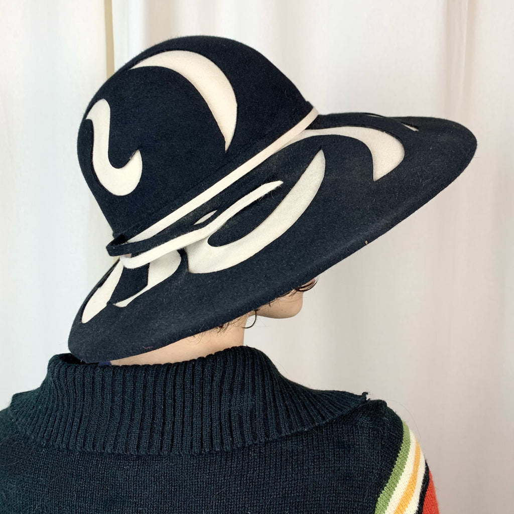 "Vintage B Michael ""My Fair Lady"" Asymmetric Black & White Felt Hat (S-M)"