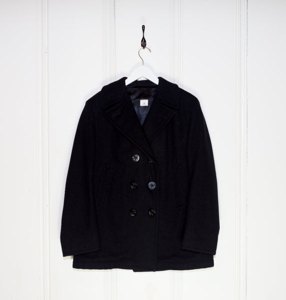 1960s Black Navel Peacoat with Flannel Pockets