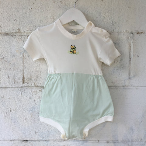 1960s Kitty Embroidered Onesie