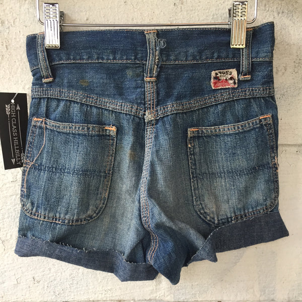 1940s Kids Button Up Denim Cut Off Shorts