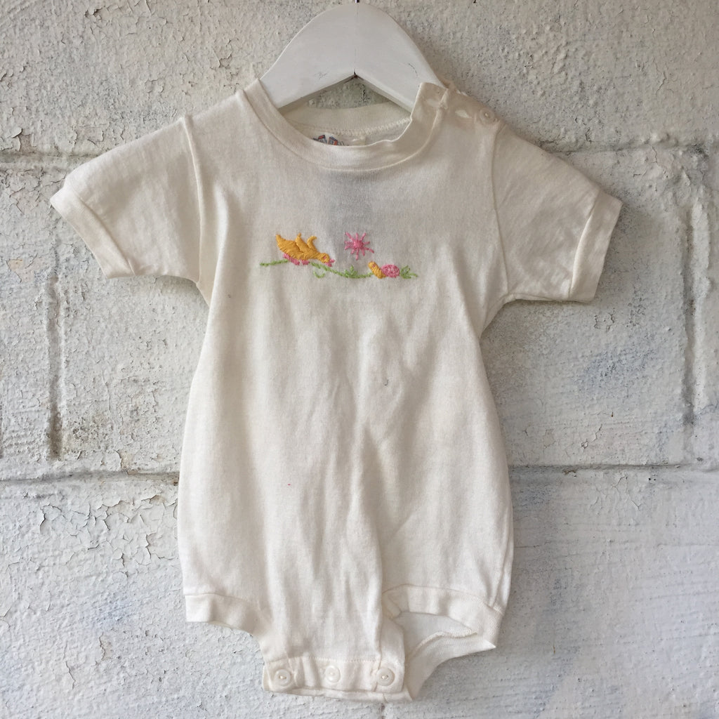 1950s Duck Embroidered Onesie