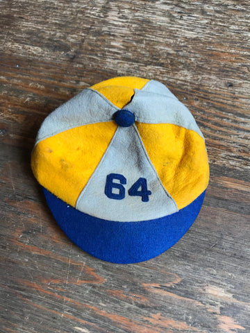 "1940s Tri Colored Wool Felted Cap ""64"""