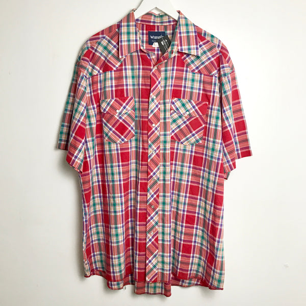 Wrangler Blue, Green, and White Plaid Short Sleeve Pearl Snap (XL)
