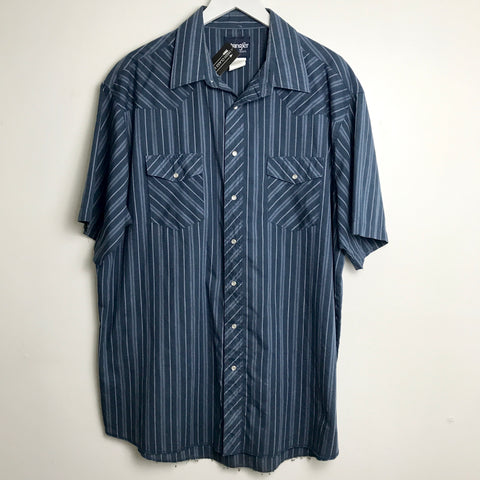 Wrangler Tall Man Navy Blue Striped Short Sleeve Pearl Snap (2XL)