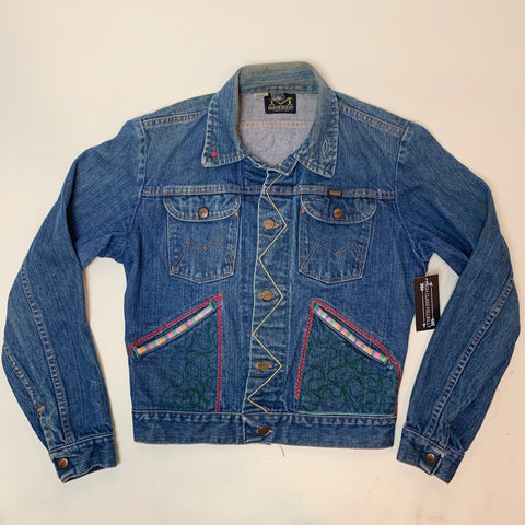 Vintage Petite Mavericks Embroidered Denim Jacket (S)