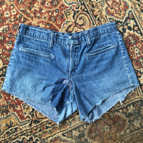 Faded Stitched Denim Cut Off Shorts Size 31