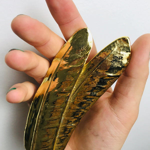 Vintage Goldtone Long Double Feather Buckle