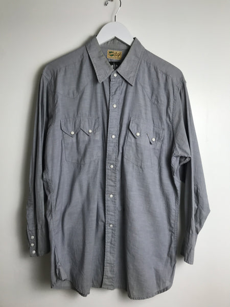 1960s DJ Chambray Sawtooth Pearl Snap Shirt (L)