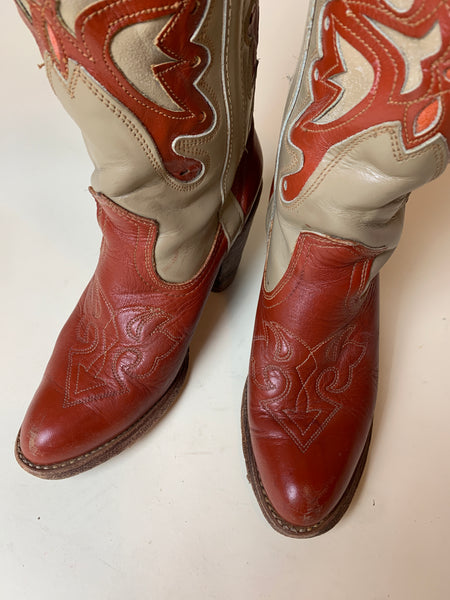 Vintage Red & Grey Butterfly Miss Capezio Heeled Boots women's 6.5