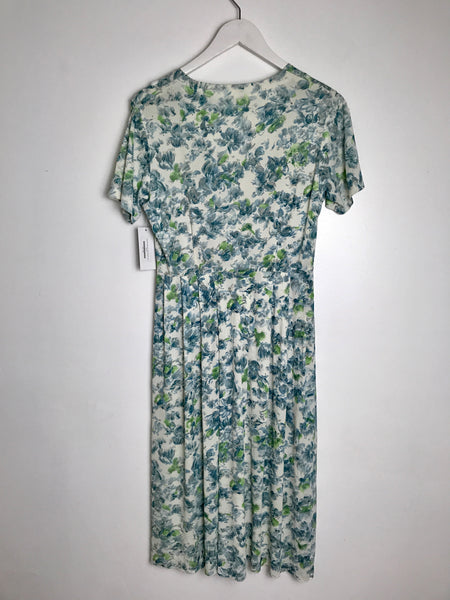 1950s Soft Blue Rose Pleated Dress -as is- (S)