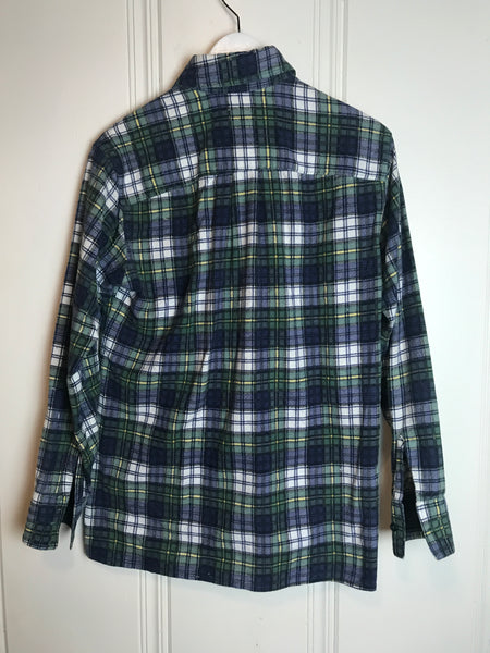Vtg. Yellow, Green, White, and Blue Plaid Flannel
