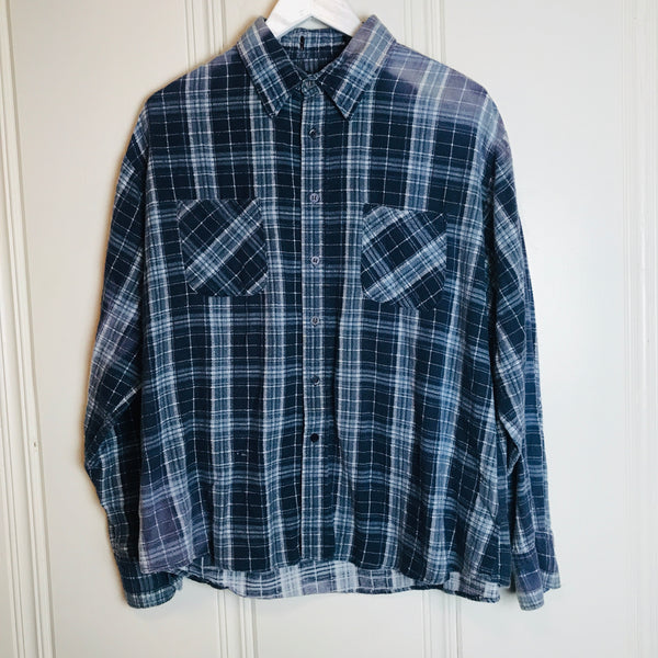 Vtg. Soft Faded Blue Plaid Flannel
