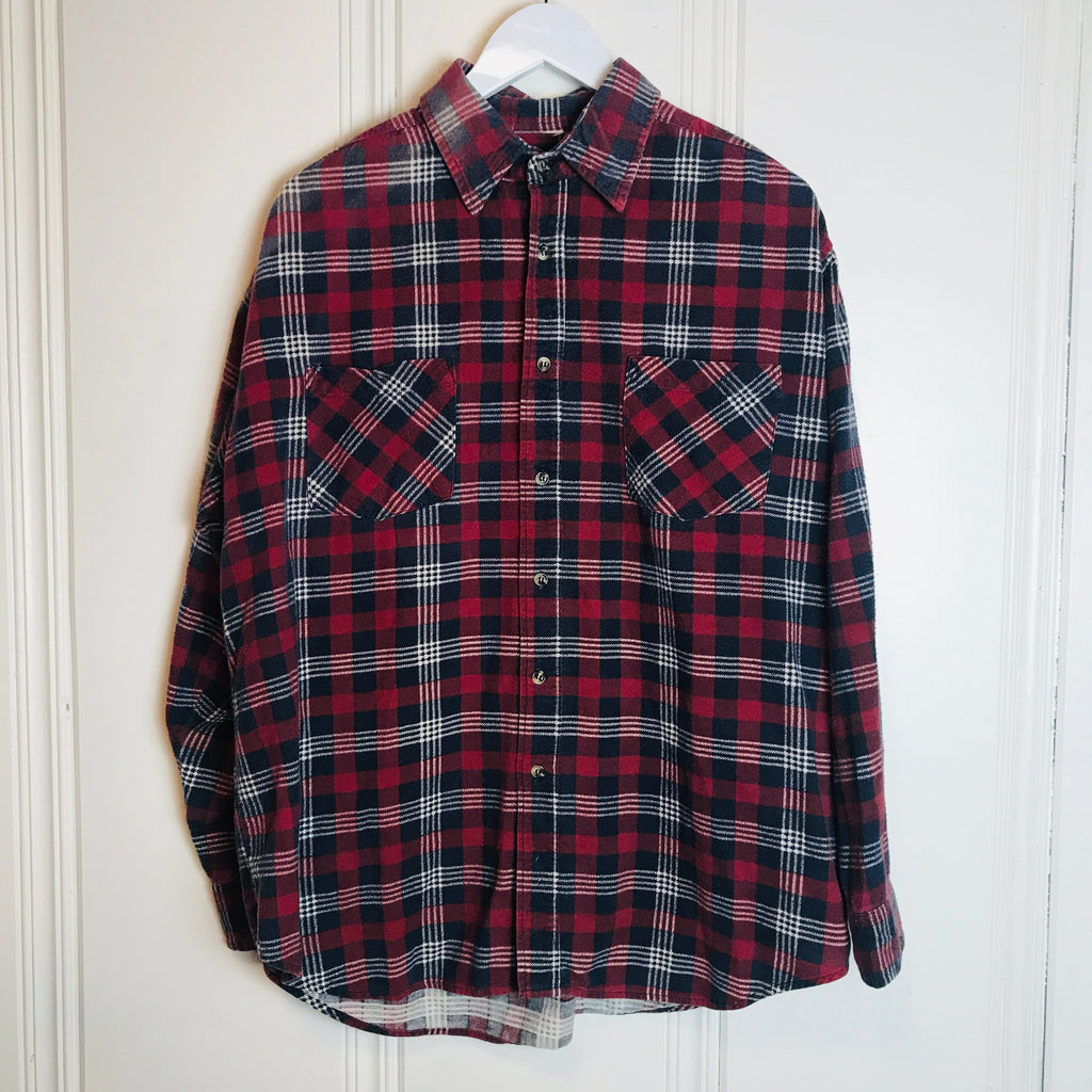 Vtg. No Brand Soft Red and Blue Flannel