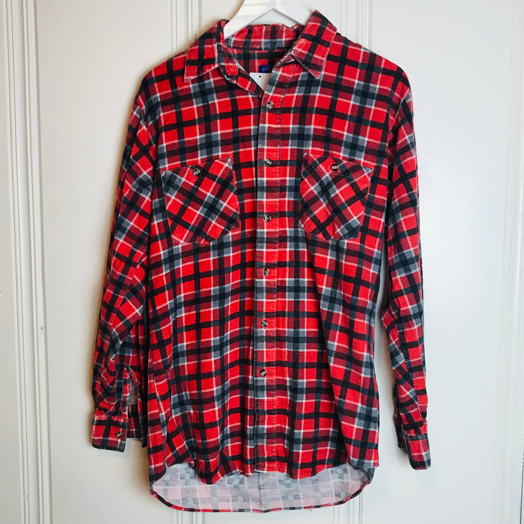 Vtg. Sparetime Red Plaid Flannel Shirt