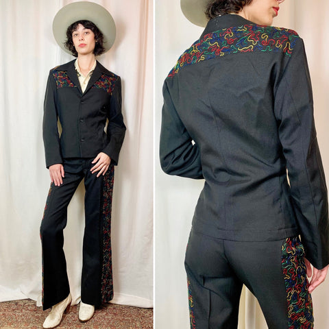 1970s Duke of Hollywood Rainbow Embroidered Western Suit (S/M)