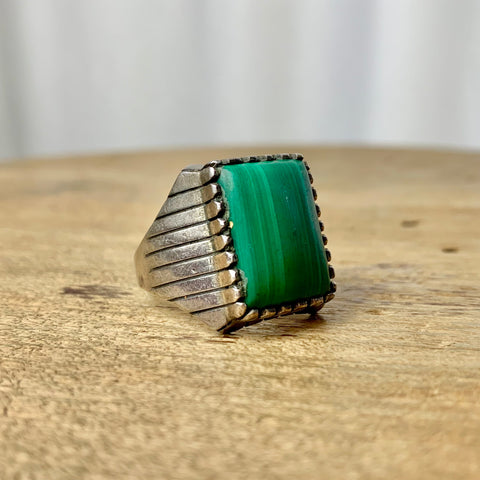 Size 13: Sterling & Malachite Etched Square Ring