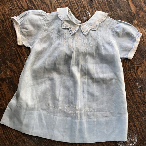 1940s Baby Blue Organdy Baby Dress