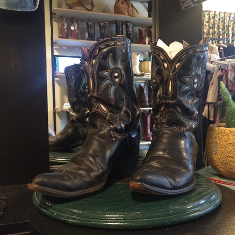 1950s Black with Turquoise and White Inlay Cowboy Boots