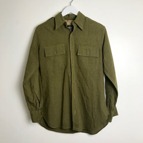 1950s McGregor Army Green Button Down Shirt (M/L)