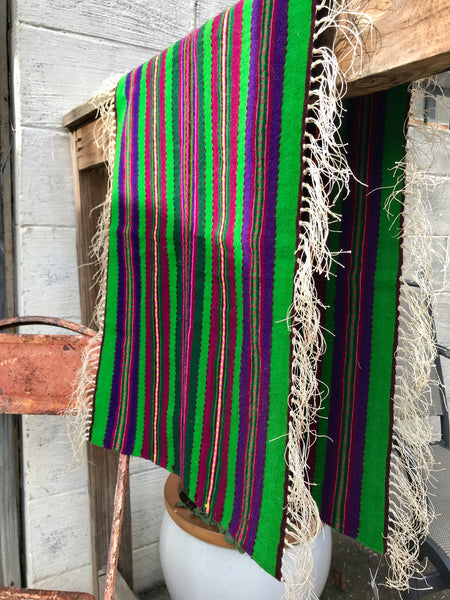 Green and Purple Striped Table Runner