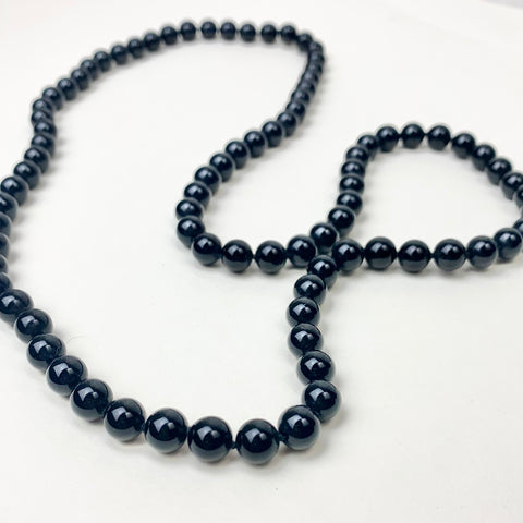 "Vtg."" Black Pearl"" Glass Beaded Necklace"