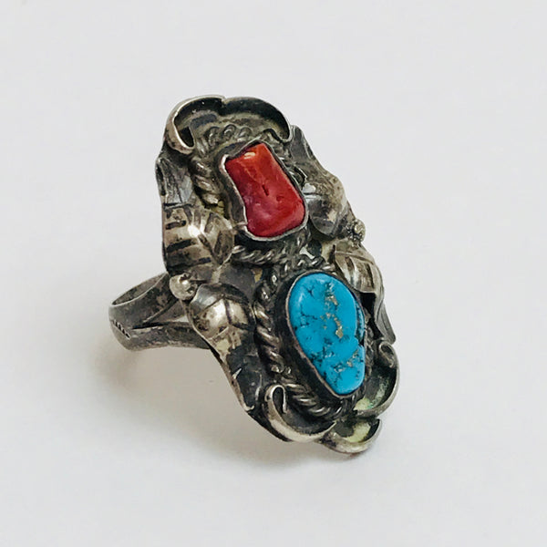 Size 7.25: Sterling, Turquoise, and Coral Etched Band Ring