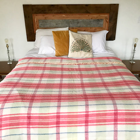 Vintage Pink and White Plaid Wool Camp Blanket