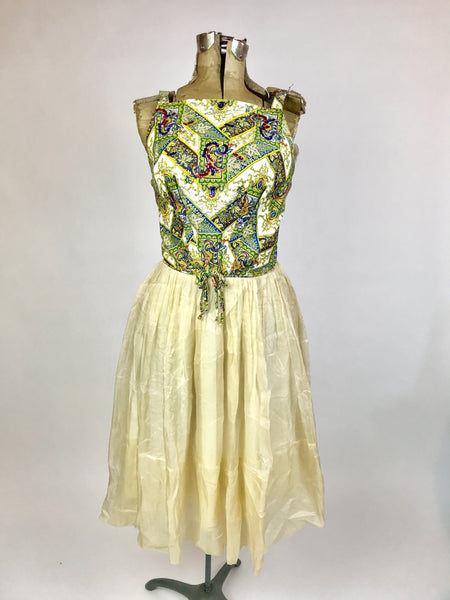 Vintage Paisley and Chiffon Summer Dress
