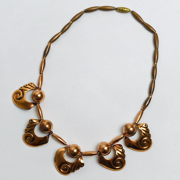 Vtg. Copper Swirl Necklace