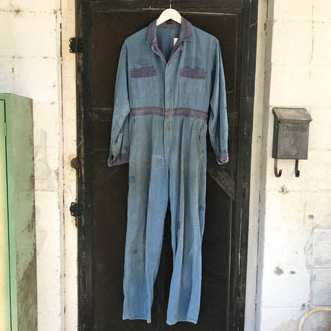 1950s Indigo Patched Up Coveralls