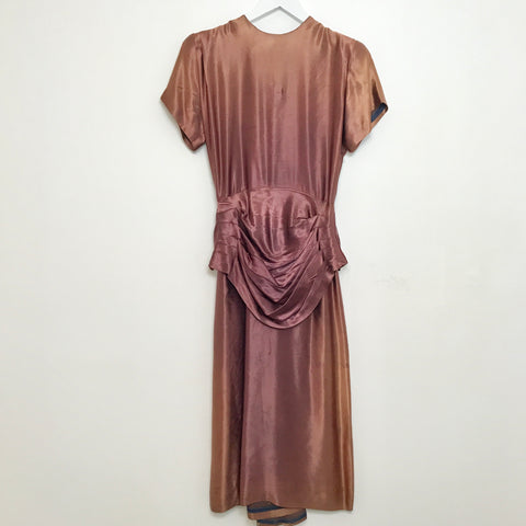 1940s Deep Mauve Liquid Satin Dress