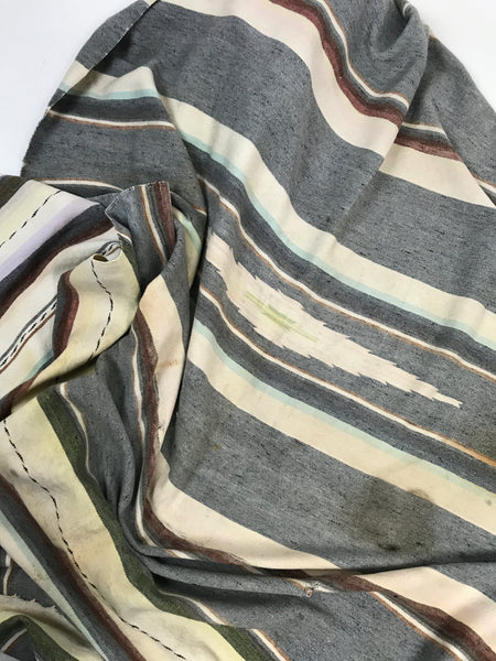 Vintage Woven Grey and Cream Striped Throw Blanket