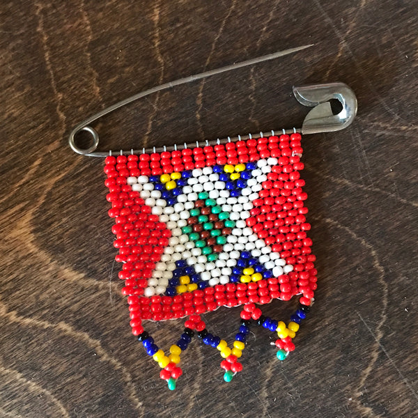 Native American Beaded Safety Pin Piece