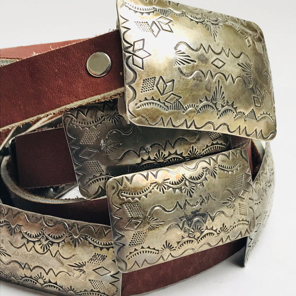 1950s Leather and Etched Sterling Belt