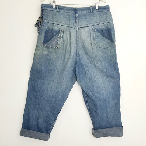 1940s Denim Work Pants 38x28 -as is-
